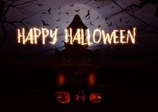 fondo de 3D Halloween con las calabazas y el castillo fantasmagórico Fotografía de archivo
