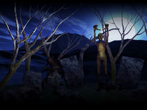 fondo de 3D Halloween con los zombis en cementerio Imagen de archivo