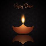Fondo de Diwali con la lámpara de aceite ardiente ilustración del vector