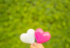 Fondo de dos corazones Fotos de archivo