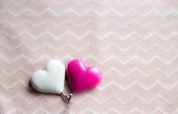 Fondo de dos corazones Fotografía de archivo