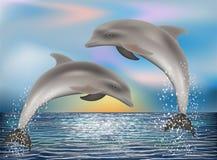 Fondo de dos delfínes Vector Imagenes de archivo