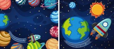 Fondo de dos espacios con los planetas y el cohete ilustración del vector