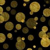 Fondo de Dots Faux Foil Metallic Black del oro Foto de archivo