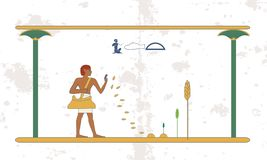 Fondo de Egipto antiguo El hombre siembra trigo en el campo Antecedentes históricos Gente antigua imagen de archivo