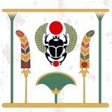Fondo de Egipto antiguo Escarabajo con las fans y el compostion del bastón Amuleto del escarabajo con las fans del color Antecede imágenes de archivo libres de regalías
