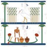 Fondo de Egipto antiguo Un hombre lleva los buques en el barco El Ciconia camina a través de los pantanos con los bastones histór fotos de archivo