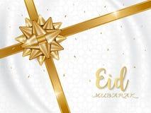 Fondo de Eid Mubarak con el arco de oro del regalo ilustración del vector