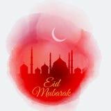 Fondo de Eid Mubarak de la acuarela stock de ilustración