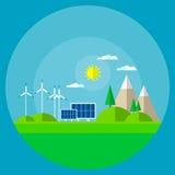 Fondo de energía solar de la montaña del panel de la turbina de viento Imagen de archivo
