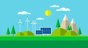 Fondo de energía solar de la montaña del panel de la turbina de viento Imagen de archivo libre de regalías