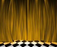 Fondo de etapa del proyector de la cortina del oro Imagenes de archivo