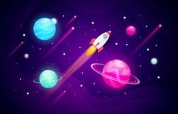 Fondo de exploración del espacio del ejemplo del vector con forma abstracta, los planetas y el cohete libre illustration
