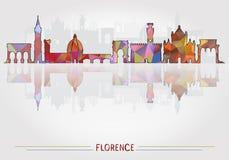 Fondo de Florence City con la silueta del paisaje urbano ilustración del vector