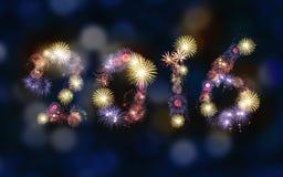 Fondo de 2016 fuegos artificiales, partido Foto de archivo