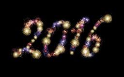 Fondo de 2016 fuegos artificiales, partido Imagen de archivo
