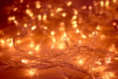 Fondo de Garland Blurred Led Bulb Light de las luces de la Navidad Fotos de archivo
