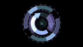 fondo de GPS de la tecnología de la rotación 4k, el panel del software y geometría ilustración del vector