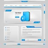 Fondo de Gray And Blue On Light de los elementos de controles del web UI Fotos de archivo