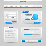 Fondo de Gray And Blue On Light de los elementos de controles del web UI Imagenes de archivo