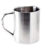 Fondo de Gray Metallic Cup On White Imágenes de archivo libres de regalías