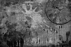 Fondo de Grunge con el reloj Imagen de archivo