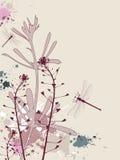 Fondo de Grunge con las flores y la libélula Fotos de archivo