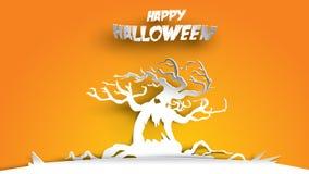 Fondo de Halloween con el árbol frecuentado en el arte de papel que talla estilo bandera, cartel, partido de la plantilla del avi ilustración del vector