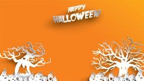 Fondo de Halloween con el arte de papel frecuentado del árbol y de la calabaza que talla estilo bandera, cartel, partido de la pl ilustración del vector