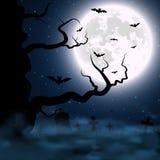 Fondo de Halloween con el cementerio, el árbol y la luna Ilustración del vector Foto de archivo
