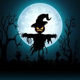 Fondo de Halloween con el espantapájaros asustadizo en cementerio ilustración del vector
