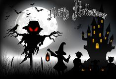 Fondo de Halloween con el fantasma, la casa asustadiza y las niñas en la Luna Llena Fotos de archivo