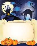 Fondo de Halloween con el gato negro, las calabazas y el papel viejo Imagenes de archivo