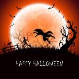 Fondo de Halloween con el hombre lobo Imágenes de archivo libres de regalías