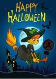 Fondo de Halloween con el vuelo lindo de la bruja en su escoba en una noche de la Luna Llena fotografía de archivo