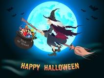 Fondo de Halloween con la bruja del vuelo stock de ilustración