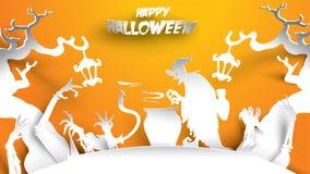 Fondo de Halloween con la bruja, el árbol frecuentado, y la mano del zombi en el arte de papel tallando estilo bandera, cartel, t stock de ilustración