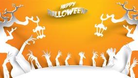 Fondo de Halloween con la bruja y árbol frecuentado en el arte de papel que talla estilo bandera, cartel, partido de la plantilla ilustración del vector