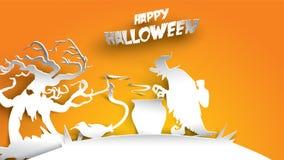 Fondo de Halloween con la bruja y bosque frecuentado del árbol en el arte de papel que talla estilo bandera, cartel, plantilla p  stock de ilustración