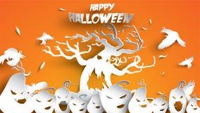 Fondo de Halloween con la calabaza, el cuervo y el bosque frecuentado del árbol en el arte de papel que talla estilo bandera, car libre illustration