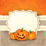 Fondo de Halloween con la etiqueta y las calabazas Imagen de archivo libre de regalías