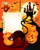 Fondo de Halloween con la muestra de madera y el gato negro Imagen de archivo
