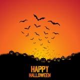 Fondo de Halloween con los palos y las calabazas Fotografía de archivo libre de regalías