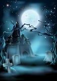 Fondo de Halloween del cementerio y del castillo Fotografía de archivo libre de regalías