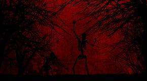 Fondo de Halloween del Grunge con los esqueletos Imágenes de archivo libres de regalías