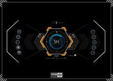 Fondo de HUD nave espacial del tablero de instrumentos La vista es fantástica Interfaz de usuario futurista Futuro abstracto, fut Fotos de archivo