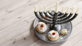 Fondo de Jánuca con las velas, anillos de espuma, top de giro imagen de archivo
