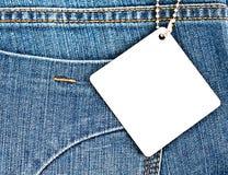 Fondo de Jean con la etiqueta en blanco 1 Fotografía de archivo libre de regalías