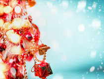 Fondo de Joy Christmas con la iluminación y el bokeh del día de fiesta Foto de archivo
