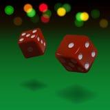 Fondo de juego de los dados Cubos rojos del vector en fondo verde ilustración del vector
